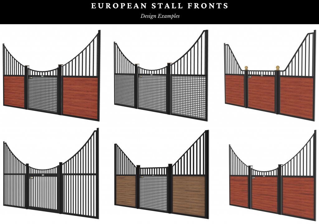 European stall fronts for horse barns