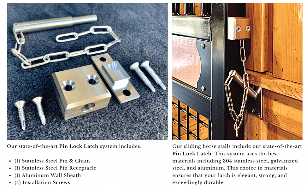 Pin Lock Latch system for horse stalls and horse stall sliding type